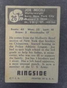 Joe Micheli Boxing Ringside Card